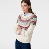 GANT Fairisle Crewneck Jumper ~ cream patterned jumpers ~ crew neck sweaters