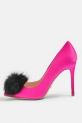 Topshop Gazelle Pom Pom Court Shoes | pink courts | high heel court shoes | pom poms