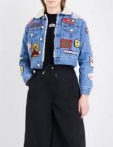GCDS Patch appliqué cropped denim jacket   light blue crop hem jackets