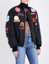 GCDS Patch appliqué shell bomber jacket | black embellished jackets