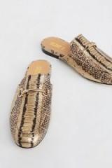 Silent D Gigi Slip-On Loafer | leather snake print backless loafers | stylish slip on flats