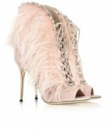 GIUSEPPE ZANOTTI Charleston Pink Suede and Feathers High Heel Sandals – luxe statement heels