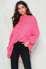 NASTY GAL Give Knit a Rest Oversized Sweater | slouchy pink sweaters
