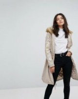Glamorous Oversized Parka Jacket With Fur Hood And Embroidery / neutral stone coloured coats