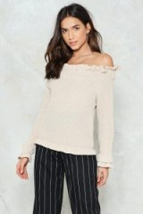NASTY GAL Go for Knit Ribbed Sweater | beige ruffled bardot sweaters