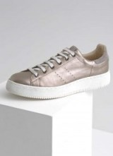 MINT VELVET GOLD ANDI LACE UP TRAINER / casual luxury / gold trainers
