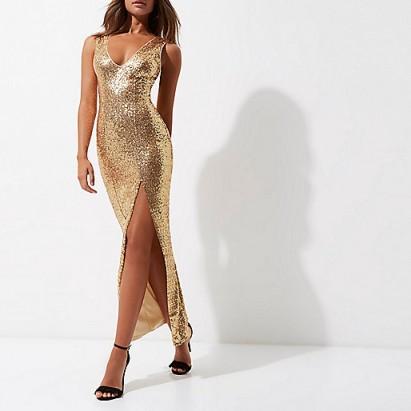 1ec06f53 River Island Gold sequin plunge split front maxi dress ...