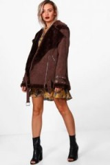 boohoo Grace Cord Aviator Jacket | chocolate-brown faux fur lined jackets