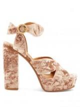 CHLOÉ Graphic Leaves velvet sandals ~ blush-pink chunky platforms