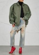 Y/PROJECT Green oversized nylon bomber jacket | slouchy jackets