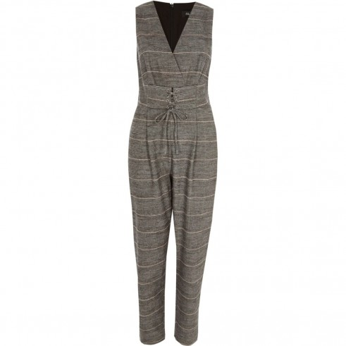 River Island Grey check corset waist belt jumpsuit | sleeveless jumpsuits