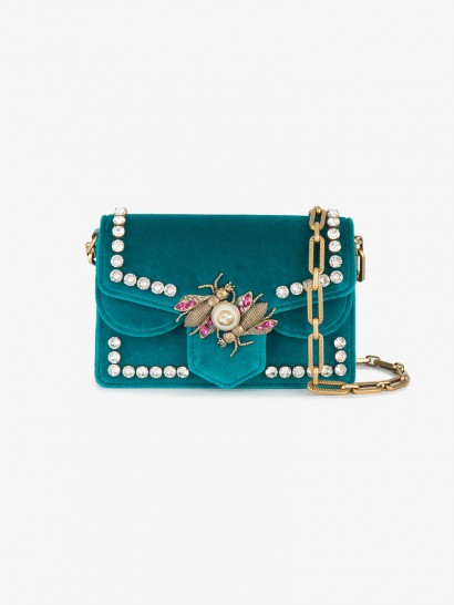 Gucci Broadway Velvet Peacock Mini-Bag / blue embellished bags