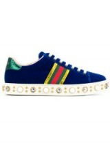 GUCCI faux pearl embellished striped sneakers / sports luxe