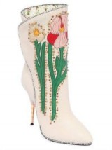 GUCCI EMBELLISHED FLORAL LEATHER BOOTS