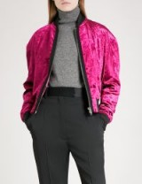HAIDER ACKERMANN Crushed-velvet bomber jacket | fuchsia-pink jackets