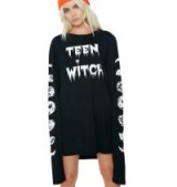 Bella Thorne black and white graphic T-shirt, Dolls Kill TEEN WITCH LONG SLEEVE TEE, out in Los Angeles, 7 October 2017. Celebrity T-shirts | casual star style fashion