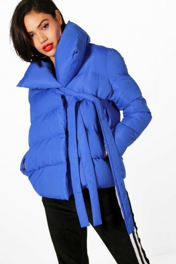 boohoo Hanna Oversized Collar Padded Tie Front Coat | stylish cobalt-blue winter coats