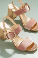 Paolo Mattei Harleigh Velvet Metallic Sandals / gold and pink chunky heel shoes