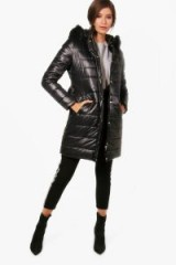 boohoo Harriet High Shine Padded Belted Coat | glossy black hooded winter coats