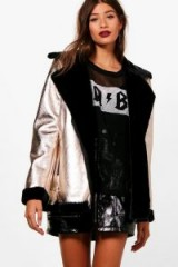 boohoo Heather Metallic Bonded Aviator – shiny faux fur lined winter jackets