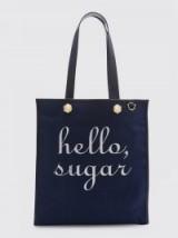 Reese Witherspoon large blue bag on shoulder, Draper James Hello Sugar Vanderbilt Tote, posted on Instagram, 13 October 2017. Celebrity bags & accessories