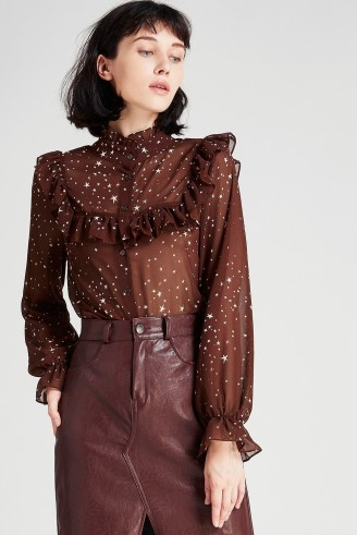 STORETS Helly 2 Way Star Print Blouse | brown ruffled blouses