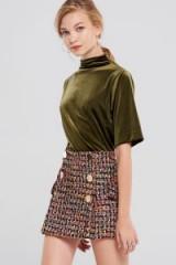 STORETS Hera Tweed Classic Skirt | front button mini skirts