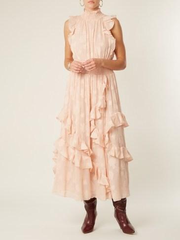 REBECCA TAYLOR High-neck smocked floral fil coupé dress / romantic pink dresses - flipped