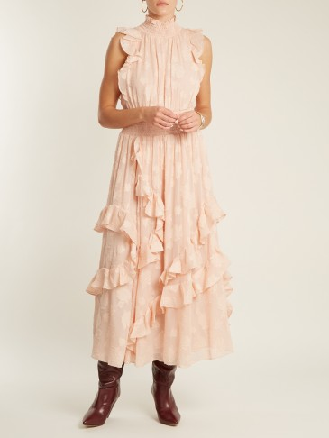 REBECCA TAYLOR High-neck smocked floral fil coupé dress / romantic pink dresses