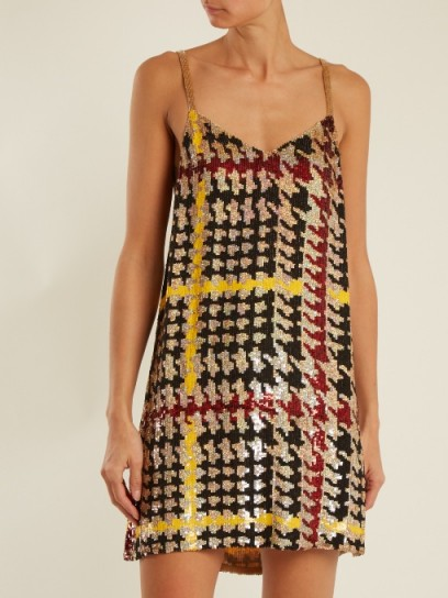 ASHISH Hound's-tooth sequin-embellished mini dress | bold sequinned checks | bling slip dresses