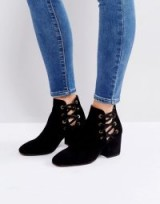 Hudson Kris Suede Cut Out Ankle Boots ~ black side lace up boot
