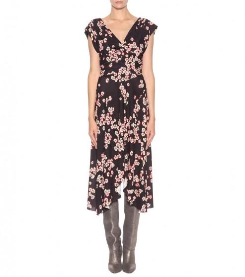 ISABEL MARANT Doriana printed crêpe dress / floral asymmetric dresses