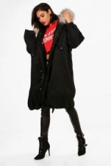 boohoo Ivy Parka With Faux Fur Trim & Detachable Lining | winter hooded coats
