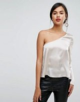 Ivyrevel One Sleeved Satin Top ~ silky one shoulder tops