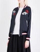 IZZUE Reversible embroidered satin bomber jacket | black floral back jackets