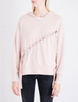 IZZUE Velvet lace-up jersey hoody | pale pink hoodies