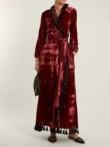 RHODE RESORT Jagger tassel-trimmed velvet wrap dress ~ long red luxe dresses