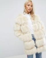 Jakke Longline Faux Fur Panelled Coat ~ glamorous winter coats