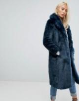 Jakke Maxi Faux Fur Coat ~ teal longline winter coats