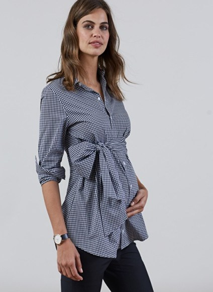 ISABELLA OLIVER JESSICA MATERNITY GINGHAM SHIRT ~ black & white check shirts ~ front tie pregnancy tops - flipped