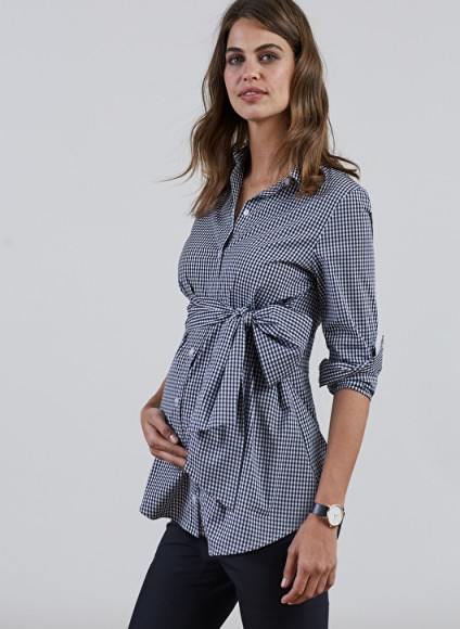 ISABELLA OLIVER JESSICA MATERNITY GINGHAM SHIRT ~ black & white check shirts ~ front tie pregnancy tops