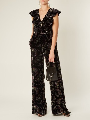 REBECCA TAYLOR Jewel wide-leg floral-print velvet jumpsuit / ruffled flower print jumpsuits - flipped