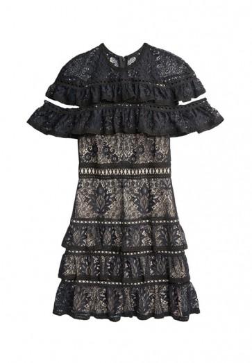 Alice Olivia Jolie Ruffle Tier Dress Black And Nude Lace Dresses