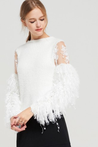 STORETS Judy Feather Knit Sweater | white feathered sweaters