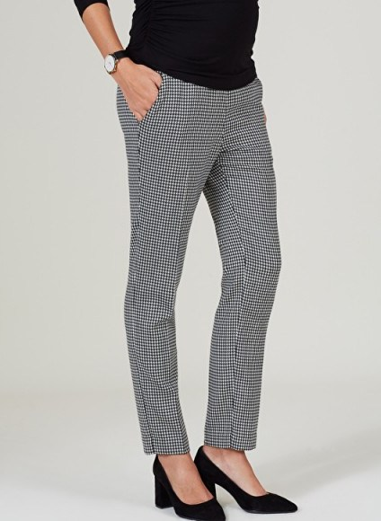 ISABELLA OLIVER JUNE MATERNITY TAILORED PANTS ~ smart houndstooth print pregnancy trousers - flipped