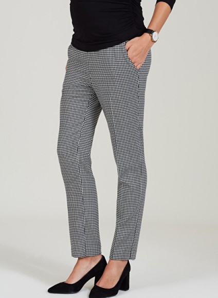 ISABELLA OLIVER JUNE MATERNITY TAILORED PANTS ~ smart houndstooth print pregnancy trousers