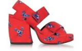 KENZO Red Fabric Memento Heeled Platform Sandals / chunky red floral platforms