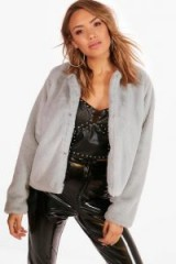 boohoo Kerry Crop Faux Fur Coat ~ grey cropped winter coats