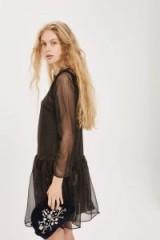 YAS Kisa Long Sleeve Skater Dress – gold sheer sleeved drop waist party dresses