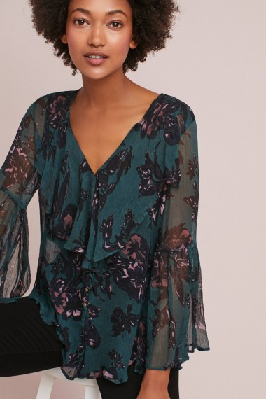 Feather Bone Kitty Ruffled Blouse / teal floral blouses